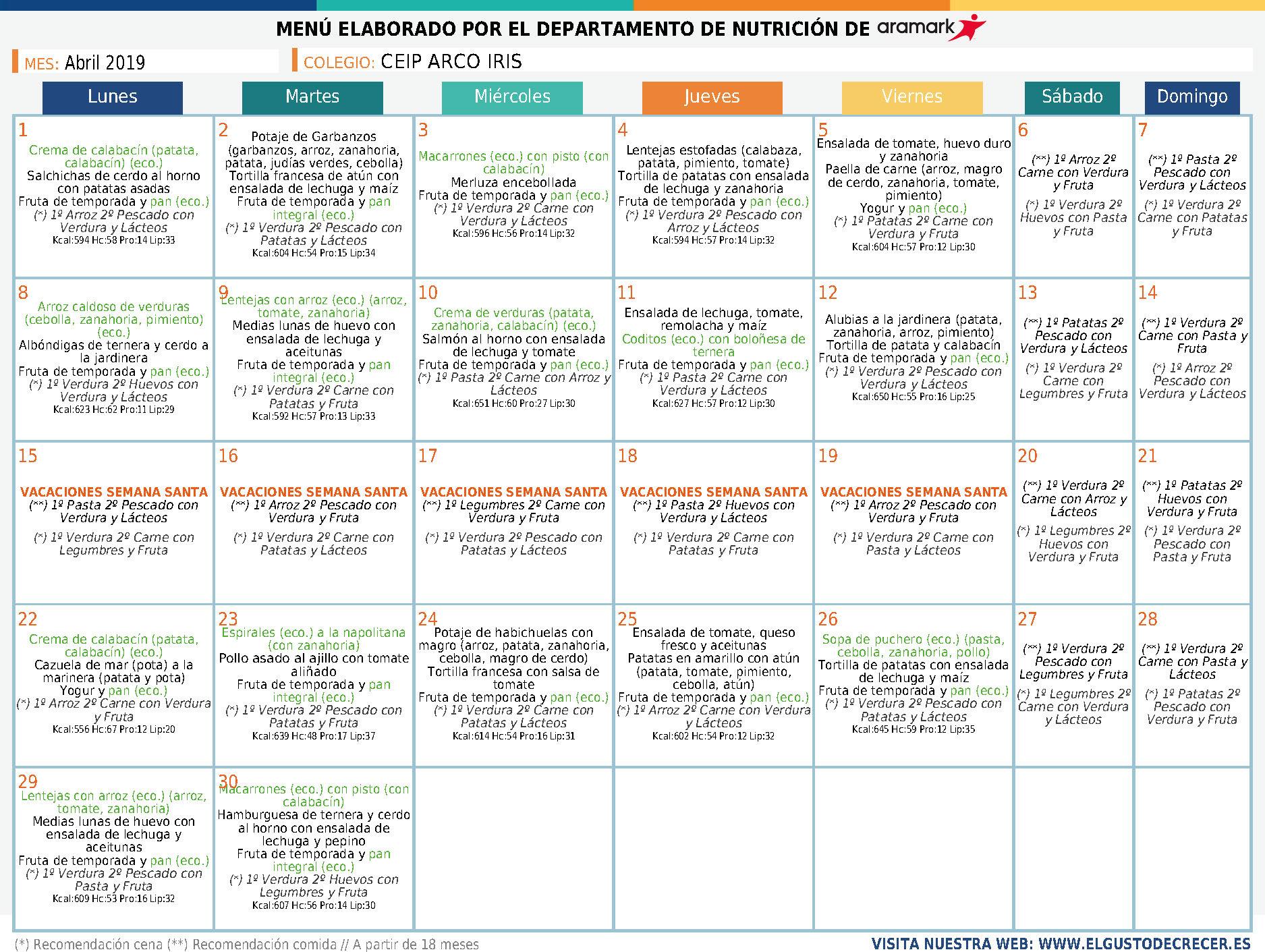 Menú comedor escolar mes de abril - AMPA El Palomar