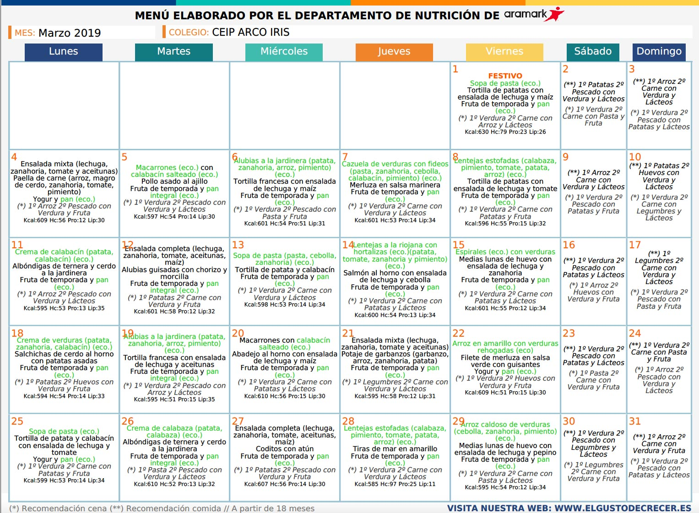 Menú comedor escolar mes de marzo - AMPA El Palomar